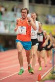LINZ, AUSTRIA - JANUARY 31 Milan Kocourek (#7 Czech Republic) places 5th in the men's 3000m event on