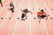 LINZ, AUSTRIA - JANUARY 31 Omo Osaghae (#212 USA) wins the men's 60m hurdles special event on Januar