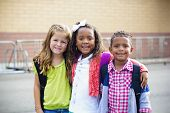 stock photo of little sister  - Diverse Children Going to Elementary school - JPG