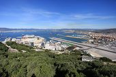 stock photo of emplacements  - Gibraltar Airport and port with Spain in the distance - JPG