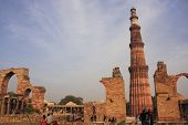 picture of qutub minar  - Wide angle view of Qutub Minar complex - JPG