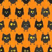 Halloween owl seamless. Vector background.