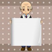 Illustration of a bald oldman holding an empty signage