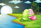 Illustration of a green monster comforting the pink monster at the riverbank