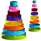An image of 3d tiered cylinders.