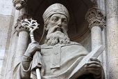 Statue of Saint Methodius on the portal of the cathedral dedicated to the Assumption of Mary and to