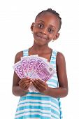 Little African Girl Holding 500 Hundred Euro Bills - Black People
