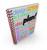 A book cover with words such as plan, action, strategy, approach and system to illustrate managing a business