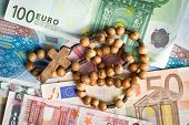 top view of rosary beads on euro bills