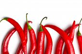 stock photo of red hot chilli peppers  - top view of chili peppers on white background - JPG