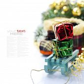 Bright christmas composition with sledge (with easy removable sample text)