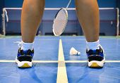 pic of badminton player  - that is badminton court with badminton player - JPG