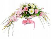 Floral Bouquet Of Roses And Orchids Arrangement Centerpiece Isolated On White Background.