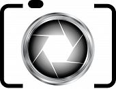Digital Camera- photography icon symbol with silver aperture