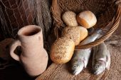 Wine Jug With Bread And Fish