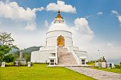 World peace pagoda in Pokhara Nepal.Designed to help unite people their search for world peace. Most pagodas built since World War II under the guidance of Nichidatsu Fuji, a Buddhist monk from Japan.