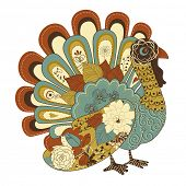 stock photo of give thanks  - Happy Thanksgiving beautiful turkey card  - JPG