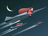 Christmas Card With Santa Claus On Rockets At Night.