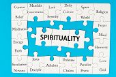 image of jigsaw  - Spirituality concept words on group of jigsaw puzzle pieces - JPG