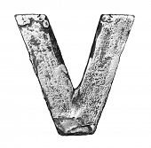 Metal alloy alphabet letter V