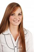 foto of auburn  - Beautiful young caucasian adult woman with long auburn red hair on a plain background wearing a white button shirt - JPG