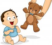 stock photo of teddy  - Illustration of a Baby Boy Delighted to be Handed a Teddy Bear - JPG