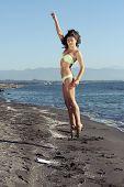 Girl Jump on Beach