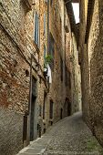 Narrow street in Bergamo, Italy