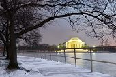 image of thomas jefferson memorial  - Thomas Jefferson Memorial in winter evening  - JPG