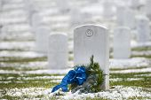 picture of arlington cemetery  - Tombstones in winter - JPG