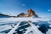 landscape of Lake Baikal in winter