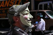 Guy Fawkes mask on Broadway