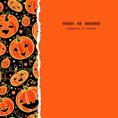Halloween pumpkins square torn frame seamless pattern background