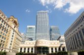 Canary Wharf London England Uk From Cabot Square On A Sunny Afternoon