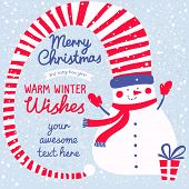 Warm winter wishes concept card. Funny snowman with gifts in bright colors in vector