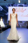ZAGREB, CROATIA - OCTOBER 5: Fashion model in wedding dress on 'Wedding days' show on October 5, 201