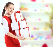 picture of beautiful girl with gift boxes