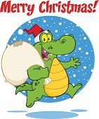 Merry Christmas Greeting With Crocodile Santa Character Running With Bag