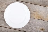 Empty plate on wood table. View from above