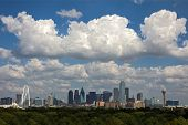 A View of Skyline Dallas at Sunny Day with Freeway Traffic, Texas, USA
