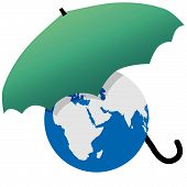 picture of eastern hemisphere  - Earth protected by a green umbrella symbol environmental threat and protection - JPG