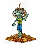 picture of cannibalism  - jamanican zombie rock cartoon with halloween pumpkins - JPG