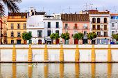 Houses Stores Restaurants Cityscape Boats River Guadalquivr Morning Seville Andalusia Spain