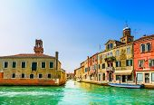 Murano Glass Making Island, Water Canal And Buildings. Venice, Italy, Europe.