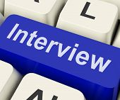 stock photo of interview  - Interview Key Showing Interviewing Interviews Or Interviewer - JPG