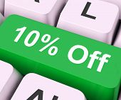 Ten Percent Off Key Means Discount Or Sale.