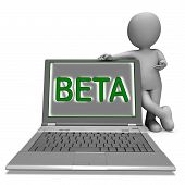 Beta Character Laptop Shows Trial Software Or Development On Internet