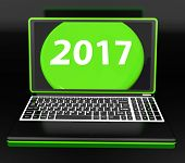 Two Thousand And Seventeen On Laptop Shows New Year Resolution 2017