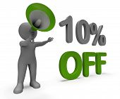 Ten Percent Off Character Means Offer Reductions Or Sale.