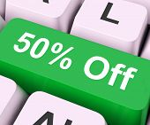 Fifty Percent Off Key Means Discount Or Sale.